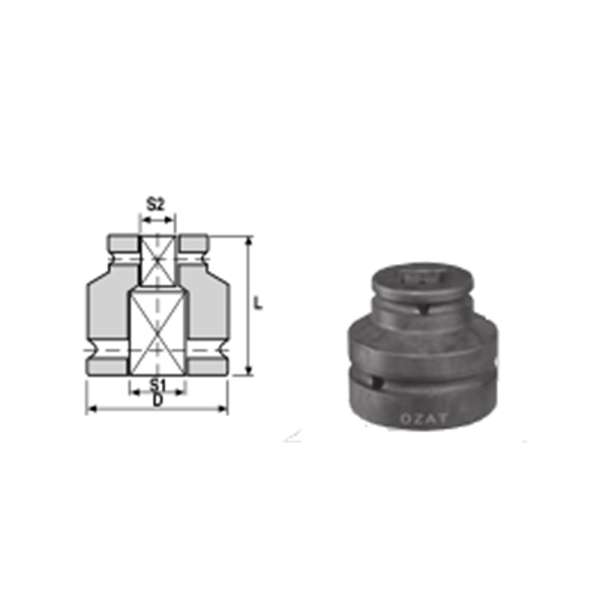 IMMAGINE 1 1 2 SQ DRIVE TWO SIDE FEMALE ADAPTORS 1 Avvitatori per assemblaggio industriale The best quality of a screwing compass can be found in the ability to withstand the greatest number of impact blows generated by the tools, by the precision with which the coupling between the exit shaft of the screwdriver and the drive (square drive) of the compass and the quality of the material in which the compass is made. The OZAT compasses by Airtechnology are made with special processes that combine the traditional electroerosions in a special chemical bath. This process gives the bushes characteristics of resistance to wear and strength to use unique in the market.