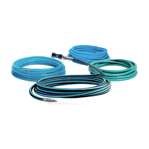 IMMAGINE GENERALE PER INTR HOSES 1 Avvitatori per assemblaggio industriale Rubber hose Rubber hose with alternating blue and black stripes SBR inner tube Synthetic fabric braid SBR/EPDM outer sheath (UV and ozone resistant) Resists flexion, traction and torsion forces Excellent abrasion resistance on concrete floors