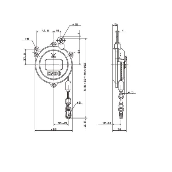 SPRING BALANCER DIMENSIONI EK 00  Avvitatori per assemblaggio industriale B Series Spring Balancers are designed to increase productivity in any situations where repetitive or prompt vertical movement of fixed load is required.