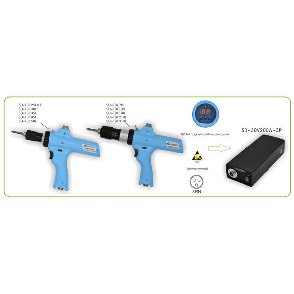 IMMagine sd tbc series pistol type Avvitatori per assemblaggio industriale Created to define new standards in manual screwing applications, the low voltage brushless screwdriver series is the ideal choice for all applications with low torques.