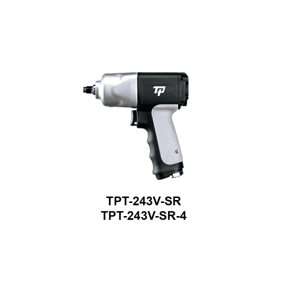 "TPT 243V SR Avvitatori per assemblaggio industriale The use of the latest technologies and materials, such as the composite material or aluminum structure, and the high power capacity make the impact tools of the TPT professional power tools series the best in every class. Our versatile line offers different torque transmission technologies, from the classic mono and double hammer, to the docking dog system to the latest patented Machoneer system capable of transmitting the highest power on the market today with a noise level of only 85 Dba for use in accordance with of law even in closed environments A complete range of tools from 3/8 ""to 1"" -1/2 both in aluminum and in composite material, offer a wide choice of use and versatility of use"
