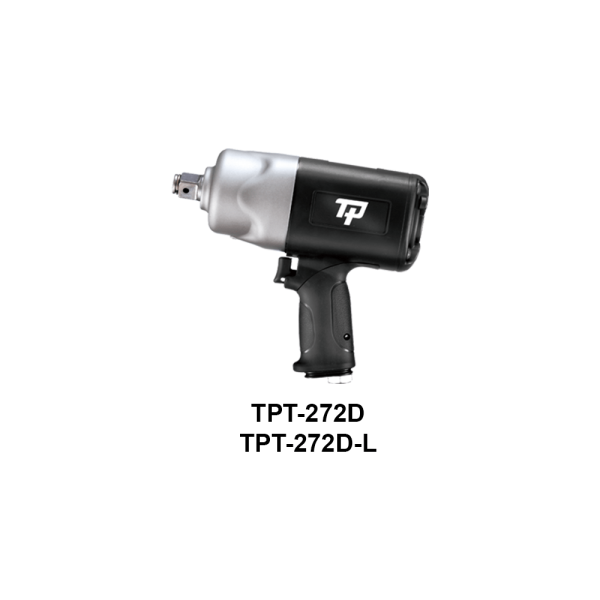 """TPT 272D  Avvitatori per assemblaggio industriale The use of the latest technologies and materials, such as the composite material or aluminum structure, and the high power capacity make the impact tools of the TPT professional power tools series the best in every class. Our versatile line offers different torque transmission technologies, from the classic mono and double hammer, to the docking dog system to the latest patented Machoneer system capable of transmitting the highest power on the market today with a noise level of only 85 Dba for use in accordance with of law even in closed environments A complete range of tools from 3/8 """"to 1"""" -1/2 both in aluminum and in composite material, offer a wide choice of use and versatility of use"""