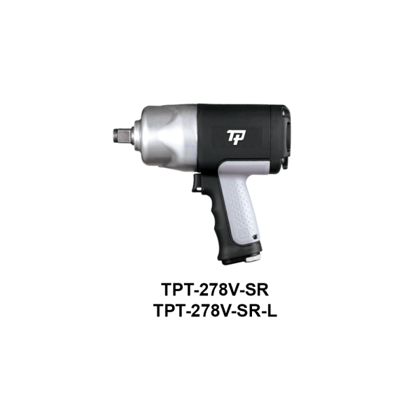 """TPT 278V SR  Avvitatori per assemblaggio industriale The use of the latest technologies and materials, such as the composite material or aluminum structure, and the high power capacity make the impact tools of the TPT professional power tools series the best in every class. Our versatile line offers different torque transmission technologies, from the classic mono and double hammer, to the docking dog system to the latest patented Machoneer system capable of transmitting the highest power on the market today with a noise level of only 85 Dba for use in accordance with of law even in closed environments A complete range of tools from 3/8 """"to 1"""" -1/2 both in aluminum and in composite material, offer a wide choice of use and versatility of use"""