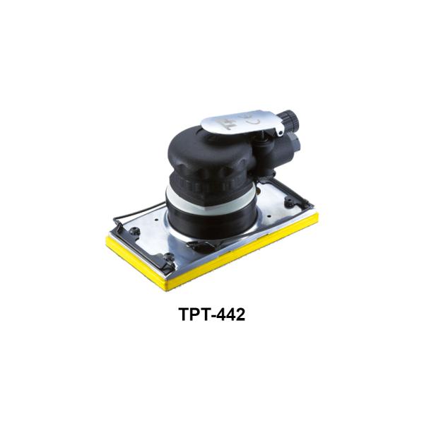TPT 442 Avvitatori per assemblaggio industriale Le Levigatrici Palmari sono strumenti progettati per far pronte a qualsiasi esigenza nel campo della finitura delle superfici, tutti gli strumenti della gamma per finitura sono progettati per offrire maggiore confort per l'utilizzatore e massima affidabilità nel tempo. Tranmax offre una gamma completa di utensili per la levigatura e la lucidatura delle superfici, di piccole o grandi dimensioni, sia per finitura che per la sgrossatura: Levigatrici Rotorbitali con platorello da 75mm, 125mm e 150mm, Levigatrici palmari, Carteggiatrici per fogli abrasivi, Mini-Levigatrici e Pulitrici Orbitali e Rotorbitali, Levigatrici a nastro, Levigatrici e Lucidatrici Angolari