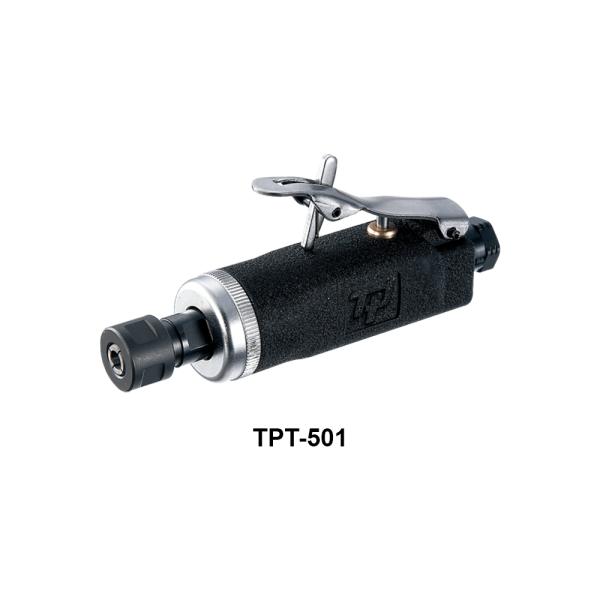 TPT 501  Avvitatori per assemblaggio industriale Le smerigliatrici pneumatiche serie TPT si differenziano tra loro per:      conformazione (diritta, meglio definita come ASSIALE, ANGOLARE, angolare RIBASSATA),  potenza d'esercizio (0,2Hp per le microsmerigliatrici, 0,3Hp le minismerigliatrici, 0,5Hp, 0,9Hp, 1 Hp, 1,5Hp),  numero di giri (da 3500 a 60000 rpm)  tipo di attacco porta utensile (pinza da 3 o da 6 mm o ghiera porta mola)    La scelta della smerigliatrice corretta da utilizzare dipende dall'applicazione e dal tipo di utensile a finire necessario per la lavorazione: è infatti la pinza corretta, piuttosto che il disco con le caratteristiche più adatte, piuttosto che la mola più performante, a determinare la tipologia di smerigliatrice da utilizzare per una asportazione di materiale migliore e più efficace.