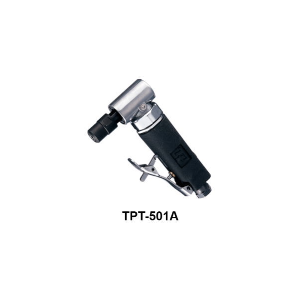 TPT 501A  Avvitatori per assemblaggio industriale Le smerigliatrici pneumatiche serie TPT si differenziano tra loro per:      conformazione (diritta, meglio definita come ASSIALE, ANGOLARE, angolare RIBASSATA),  potenza d'esercizio (0,2Hp per le microsmerigliatrici, 0,3Hp le minismerigliatrici, 0,5Hp, 0,9Hp, 1 Hp, 1,5Hp),  numero di giri (da 3500 a 60000 rpm)  tipo di attacco porta utensile (pinza da 3 o da 6 mm o ghiera porta mola)    La scelta della smerigliatrice corretta da utilizzare dipende dall'applicazione e dal tipo di utensile a finire necessario per la lavorazione: è infatti la pinza corretta, piuttosto che il disco con le caratteristiche più adatte, piuttosto che la mola più performante, a determinare la tipologia di smerigliatrice da utilizzare per una asportazione di materiale migliore e più efficace.