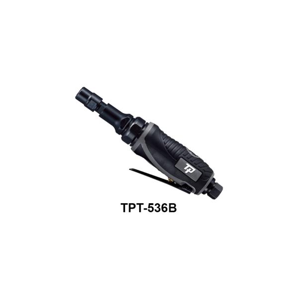 TPT 536B Avvitatori per assemblaggio industriale Le smerigliatrici pneumatiche serie TPT si differenziano tra loro per: conformazione (diritta, meglio definita come ASSIALE, ANGOLARE, angolare RIBASSATA), potenza d'esercizio (0,2Hp per le microsmerigliatrici, 0,3Hp le minismerigliatrici, 0,5Hp, 0,9Hp, 1 Hp, 1,5Hp), numero di giri (da 3500 a 60000 rpm) tipo di attacco porta utensile (pinza da 3 o da 6 mm o ghiera porta mola) La scelta della smerigliatrice corretta da utilizzare dipende dall'applicazione e dal tipo di utensile a finire necessario per la lavorazione: è infatti la pinza corretta, piuttosto che il disco con le caratteristiche più adatte, piuttosto che la mola più performante, a determinare la tipologia di smerigliatrice da utilizzare per una asportazione di materiale migliore e più efficace.
