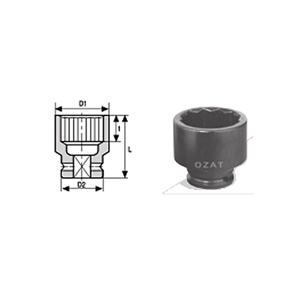 1 2 12 POINT IMPACT SOCKET REGULAR LENGTH 1  Avvitatori per assemblaggio industriale The best quality of a screwing compass can be found in the ability to withstand the greatest number of impact blows generated by the tools, by the precision with which the coupling between the exit shaft of the screwdriver and the drive (square drive) of the compass and the quality of the material in which the compass is made.