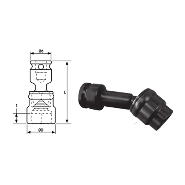 3 8 SQ DRIVE UNIVERSAL SOCKET 1  Avvitatori per assemblaggio industriale The best quality of a screwing compass can be found in the ability to withstand the greatest number of impact blows generated by the tools, by the precision with which the coupling between the exit shaft of the screwdriver and the drive (square drive) of the compass and the quality of the material in which the compass is made.
