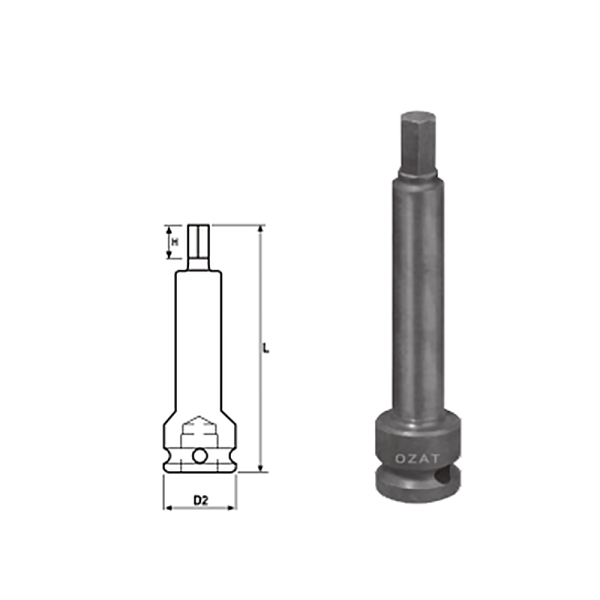 IMMAGINE 1 2 INHEX DRIVER 100 MM LONG 1 Avvitatori per assemblaggio industriale The best quality of a screwing compass can be found in the ability to withstand the greatest number of impact blows generated by the tools, by the precision with which the coupling between the exit shaft of the screwdriver and the drive (square drive) of the compass and the quality of the material in which the compass is made. The OZAT compasses by Airtechnology are made with special processes that combine the traditional electroerosions in a special chemical bath. This process gives the bushes characteristics of resistance to wear and strength to use unique in the market.