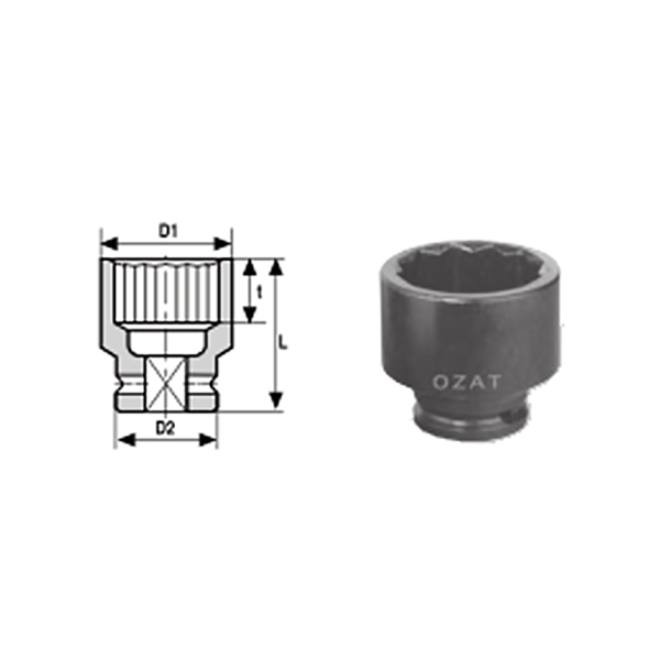 IMMAGINE 3 4 SQ DRIVE 12 POINT IMPACT SOCKETS REGULAR LENGTH 1  Avvitatori per assemblaggio industriale The best quality of a screwing compass can be found in the ability to withstand the greatest number of impact blows generated by the tools, by the precision with which the coupling between the exit shaft of the screwdriver and the drive (square drive) of the compass and the quality of the material in which the compass is made. The OZAT compasses by Airtechnology are made with special processes that combine the traditional electroerosions in a special chemical bath. This process gives the bushes characteristics of resistance to wear and strength to use unique in the market.