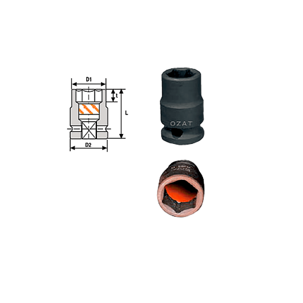 MAGNETIC SOCKET REG.  Avvitatori per assemblaggio industriale The best quality of a screwing compass can be found in the ability to withstand the greatest number of impact blows generated by the tools, by the precision with which the coupling between the exit shaft of the screwdriver and the drive (square drive) of the compass and the quality of the material in which the compass is made. The OZAT compasses by Airtechnology are made with special processes that combine the traditional electroerosions in a special chemical bath. This process gives the bushes characteristics of resistance to wear and strength to use unique in the market.