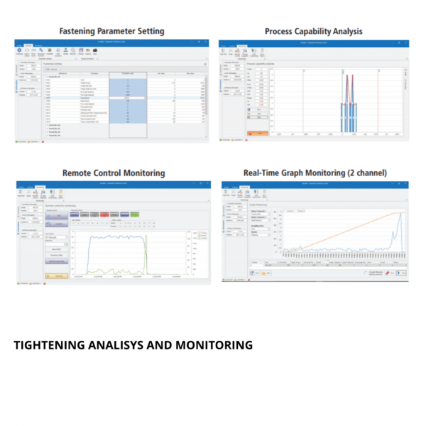 MOUNTZ MD ANALISYS ND MONITORING 1  Avvitatori per assemblaggio industriale The DC control tool delivers cost savings and quality benefits through useful features such as digitally adjustable torque setting, variable torque and speed control, multiple I/O options for integration with PLC and other line control techniques. A Windows-based software package that can customize each fastening application is included with the product. The torque control system features error-proofing capabilities and screw counting. Multiple fastening strategies can be implemented for sensitive and/or difficult assembly joints. The system increases productivity as one tool can be programmed to do the job of multiple conventional tools; saving time, maintenance cost, space and training.