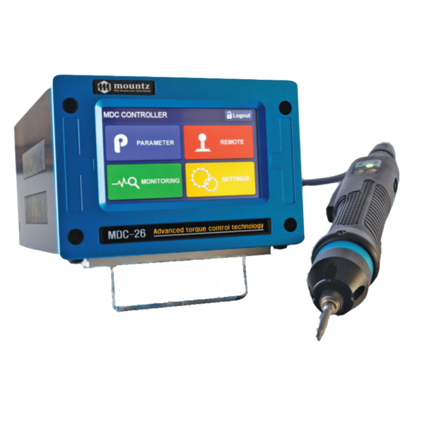 MOUNTZ MD COPERTINA 1  Avvitatori per assemblaggio industriale The DC control tool delivers cost savings and quality benefits through useful features such as digitally adjustable torque setting, variable torque and speed control, multiple I/O options for integration with PLC and other line control techniques. A Windows-based software package that can customize each fastening application is included with the product. The torque control system features error-proofing capabilities and screw counting. Multiple fastening strategies can be implemented for sensitive and/or difficult assembly joints. The system increases productivity as one tool can be programmed to do the job of multiple conventional tools; saving time, maintenance cost, space and training.