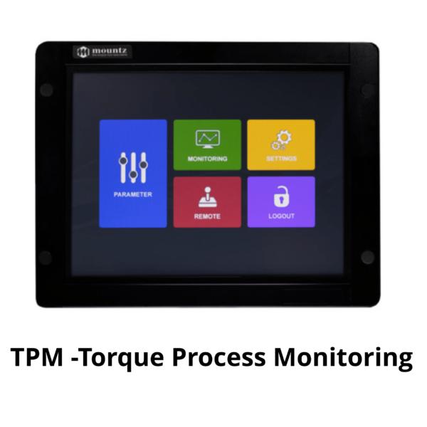 MOUNTZ MD SERIE TPM Avvitatori per assemblaggio industriale Il TPM display, meglio definito come Time Process Monitor display, è un interfaccia opzionale touch screen per controllori serie MD e AD di Mountz che estende la capacità di programmazione e parametrizzazione sia degli utensili manuali che ad uso automazione. Attraverso questo display possono essere monitorizzati tutti i parametri macchina e di programmazione. L'interfaccia consente l'estensione siano a 99 programmi e a 99 sequenze (job) pre-impostabili. La comoda pannellatura VESA sul retro consente l'applicabilità dell'interfaccia su qualsiasi tipologia di supporto a parete.