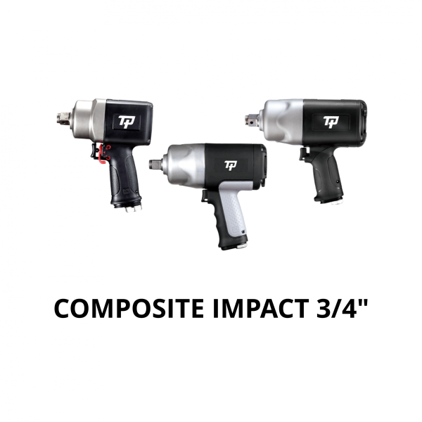 """TRANMAX TPT COMPOSITE IMPACT WRENCH 3 4 Avvitatori per assemblaggio industriale The use of the latest technologies and materials, such as the composite material or aluminum structure, and the high power capacity make the impact tools of the TPT professional power tools series the best in every class. Our versatile line offers different torque transmission technologies, from the classic mono and double hammer, to the docking dog system to the latest patented Machoneer system capable of transmitting the highest power on the market today with a noise level of only 85 Dba for use in accordance with of law even in closed environments A complete range of tools from 3/8 """"to 1"""" -1/2 both in aluminum and in composite material, offer a wide choice of use and versatility of use"""