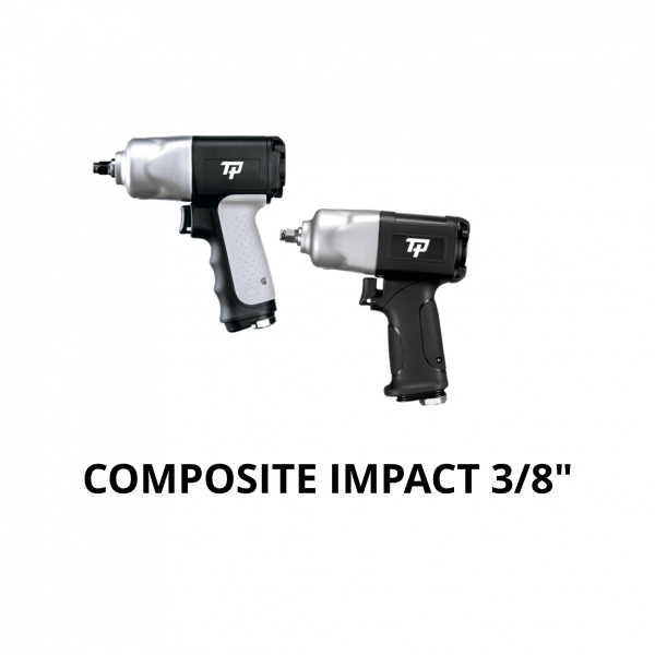 "TRANMAX TPT COMPOSITE IMPACT WRENCH 3 8 Avvitatori per assemblaggio industriale The use of the latest technologies and materials, such as the composite material or aluminum structure, and the high power capacity make the impact tools of the TPT professional power tools series the best in every class. Our versatile line offers different torque transmission technologies, from the classic mono and double hammer, to the docking dog system to the latest patented Machoneer system capable of transmitting the highest power on the market today with a noise level of only 85 Dba for use in accordance with of law even in closed environments A complete range of tools from 3/8 ""to 1"" -1/2 both in aluminum and in composite material, offer a wide choice of use and versatility of use"