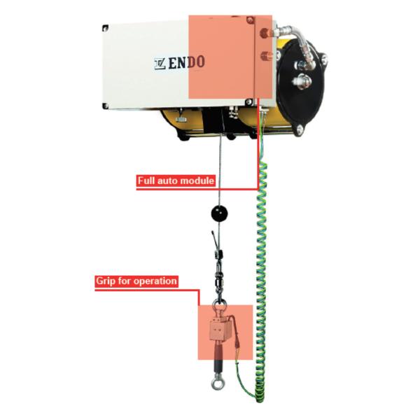 ENDO AIR BALANCER ABC 5G B immagine 3 Avvitatori per assemblaggio industriale I bilanciatori ad aria ENDO sono il sistema ideale per le movimentazioni ergonomiche all'interno di una linea produttiva. I bilanciatori ad aria sono utilizzati principalmente per le operazioni di pick&place e posizionamento, e consentono l'annullamento del carico movimentato rendendo le operazioni di spostamento più facili ed agevoli per gli operatori. Il basso consumo di aria durante l'utilizzo rende inoltre il sistema ENDO il più efficiente e a basso impatto ambientale nella categoria.
