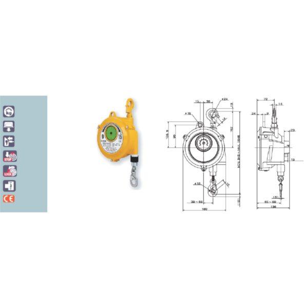 EWF 9 15 Avvitatori per assemblaggio industriale I bilanciatori a molla della gamma Airtechnology / ENDO presentano diversi modelli ciascuno con specifiche peculiarità: SERIE EK – ERP – Capacità di bilanciamento e ritrazione leggera per carichi fino a 1,5 Kg per EK e fino a 2,0 Kg per ERP SERIE ATB-THB – Capacità di bilanciamento e ritrazione con alimentazione diretta avvitatori pneumatici di peso sino a 6,5 Kg SERIE EW - EWS – Capacità di bilanciamento e ritrazione per carichi sino a 7 Kg SERIE EWF - Capacità di bilanciamento e ritrazione per carichi sino a 120 Kg SERIE A – Capacità di bilanciamento e ritrazione da 70 fino a 120 Kg con sistema di riavvolgimento e ritrazione frizionato per un riavvolgimento rallentato e gancio di appensione prolungato SERIE B – Capacità di bilanciamento e ritrazione sino a 7 Kg con sistema di riavvolgimento e ritrazione frizionato per un riavvolgimento rallentato SERIE C Green Generation - Bilanciatori in acciaio zincato non verniciato capacità di sollevamento e ritrazione siano a 120 Kg SERIE X Green Generation - Bilanciatori in acciaio zincato non verniciato capacità di sollevamento e ritrazione siano a 120 Kg SERIE Y Green Generation - Bilanciatori in acciaio INOX capacità di sollevamento e ritrazione siano a 120 Kg ideali PER APPLICAZIONI IN AMBITI ALIMENTARI SERIE ELF - Capacità di bilanciamento e ritrazione sino a 70 Kg ma con corsa di avvolgimento lunga SERIE EWA - Capacità di bilanciamento e ritrazione sino a 70 Kg ma con sistema di sicurezza anti riavvolgimento improvviso del cavo (snap-back) in caso di perdita del carico o di rottura del cavo di apprensione carico SERIE ETP - Capacità di bilanciamento e ritrazione per carichi da 120 Kg sino a 200 Kg
