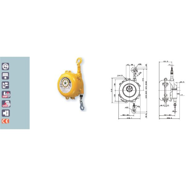 EWF 90A 105A 120A Avvitatori per assemblaggio industriale B Series Spring Balancers are designed to increase productivity in any situations where repetitive or prompt vertical movement of fixed load is required.