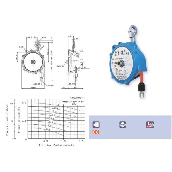 THB Avvitatori per assemblaggio industriale I bilanciatori a molla della gamma Airtechnology / ENDO presentano diversi modelli ciascuno con specifiche peculiarità: SERIE EK – ERP – Capacità di bilanciamento e ritrazione leggera per carichi fino a 1,5 Kg per EK e fino a 2,0 Kg per ERP SERIE ATB-THB – Capacità di bilanciamento e ritrazione con alimentazione diretta avvitatori pneumatici di peso sino a 6,5 Kg SERIE EW - EWS – Capacità di bilanciamento e ritrazione per carichi sino a 7 Kg SERIE EWF - Capacità di bilanciamento e ritrazione per carichi sino a 120 Kg SERIE A – Capacità di bilanciamento e ritrazione da 70 fino a 120 Kg con sistema di riavvolgimento e ritrazione frizionato per un riavvolgimento rallentato e gancio di appensione prolungato SERIE B – Capacità di bilanciamento e ritrazione sino a 7 Kg con sistema di riavvolgimento e ritrazione frizionato per un riavvolgimento rallentato SERIE C Green Generation - Bilanciatori in acciaio zincato non verniciato capacità di sollevamento e ritrazione siano a 120 Kg SERIE X Green Generation - Bilanciatori in acciaio zincato non verniciato capacità di sollevamento e ritrazione siano a 120 Kg SERIE Y Green Generation - Bilanciatori in acciaio INOX capacità di sollevamento e ritrazione siano a 120 Kg ideali PER APPLICAZIONI IN AMBITI ALIMENTARI SERIE ELF - Capacità di bilanciamento e ritrazione sino a 70 Kg ma con corsa di avvolgimento lunga SERIE EWA - Capacità di bilanciamento e ritrazione sino a 70 Kg ma con sistema di sicurezza anti riavvolgimento improvviso del cavo (snap-back) in caso di perdita del carico o di rottura del cavo di apprensione carico SERIE ETP - Capacità di bilanciamento e ritrazione per carichi da 120 Kg sino a 200 Kg
